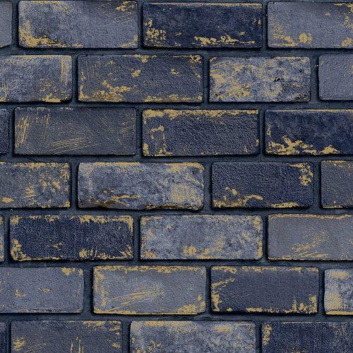 Arthouse Metallic Brick Navy 692200 Wallpaper
