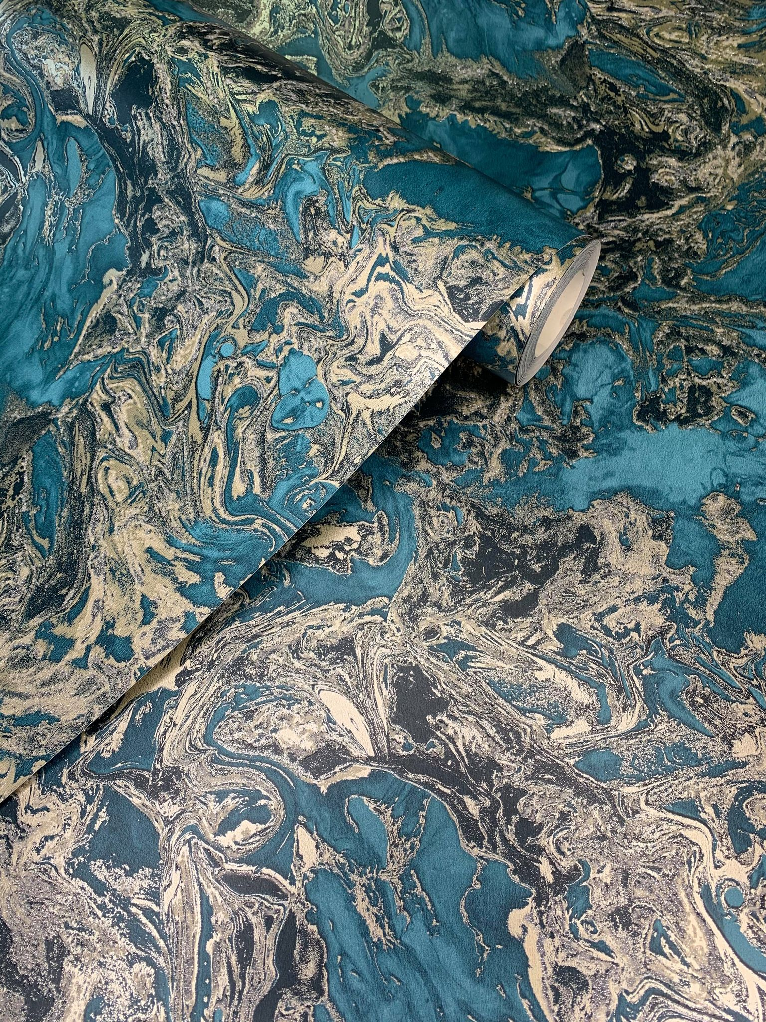 Liquid Marble Teal Gold 6363 Wallpaper Sales Marble
