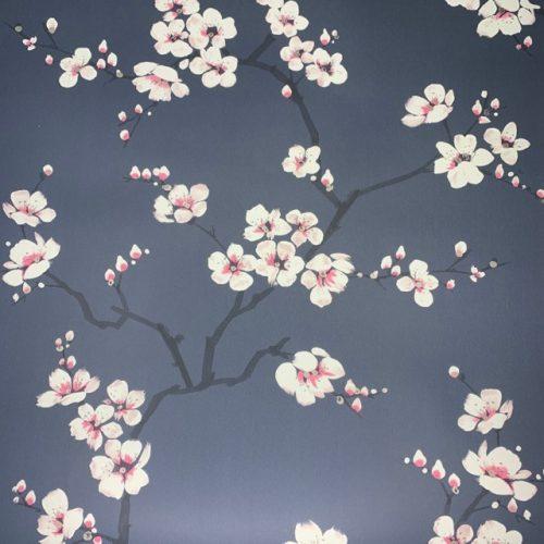 Navy Apple Blossom Wallpaper