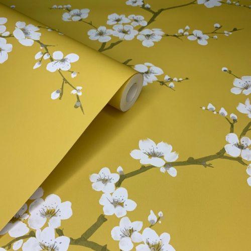 Mustard Yellow Apple Blossom Wallpaper