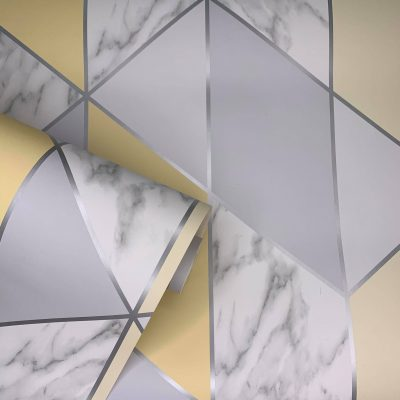 Marble Steel Geo Yellow Wallpaper 108296 Graham & Brown