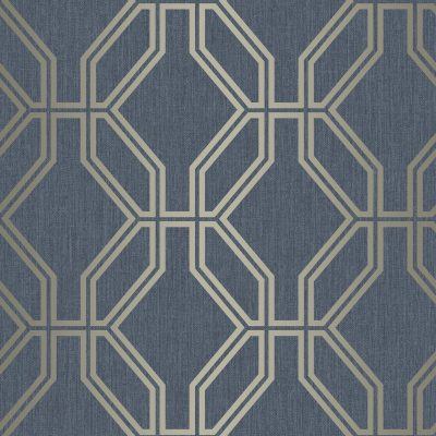 Highgrove Trellis Navy Gold Rasch 275260