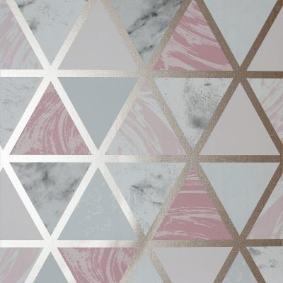 692205 Arthouse Marble Geometric Pink Metallic Wallpaper