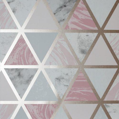 692205 Arthouse Marble Geometric Pink Metallic Wallpaper