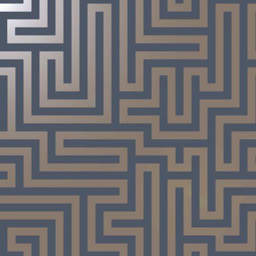 Glistening Maze Wallpaper Navy / Gold Holden 12913