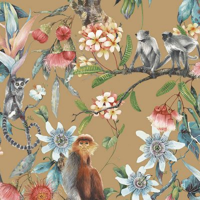 Cheeky Monkeys Gold Wallpaper Hi958