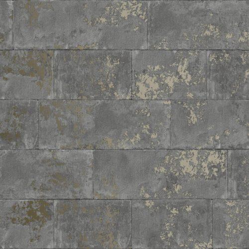 Metallic Brick Wallpaper Charcoal Rasch 248685