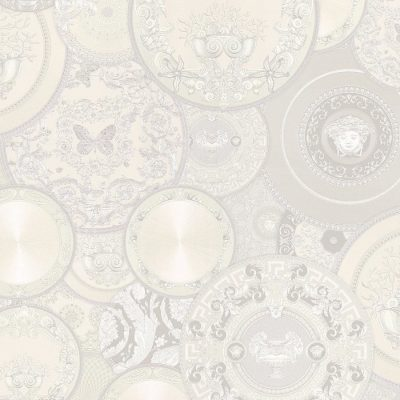 Versace Etoiles Plates White metallic 34901-4 Wallpaper