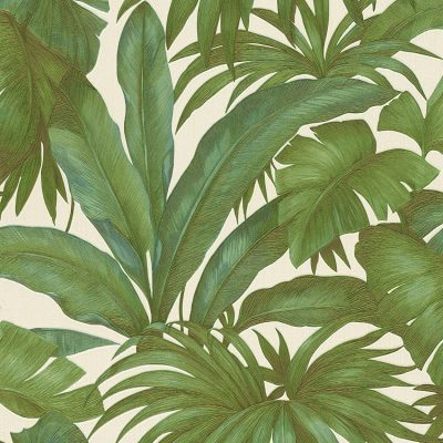 Versace Giungla Palm Motif Green White Wallpaper 96240-5