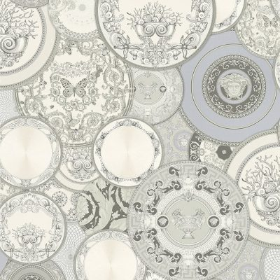 Versace Etoiles Plates Silver Grey metallic 34901-3 Wallpaper