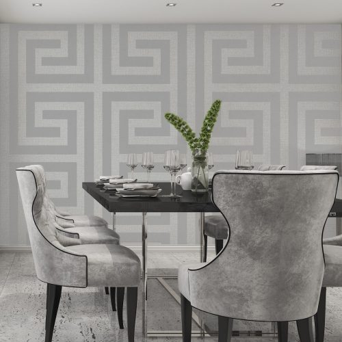 Giorgio Greek Key Soft Silver Belgravia 8109 (G8109) Wallpaper