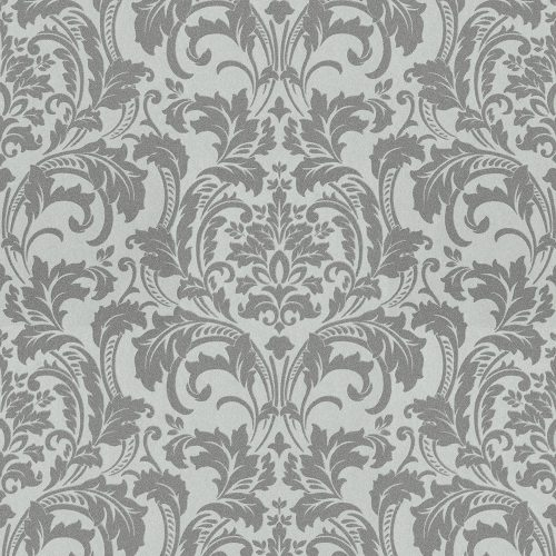 41005-20 Glass Bead Damask Grey Silver Deluxe Wallpaper