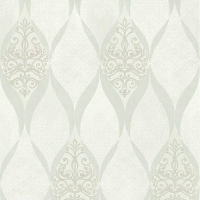 41006-10 Glass Bead Wave White Silver Deluxe Wallpaper