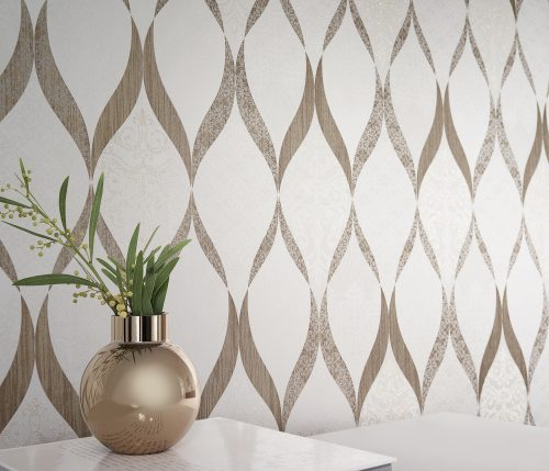 41006-20 Glass Bead Wave Gold Deluxe Wallpaper