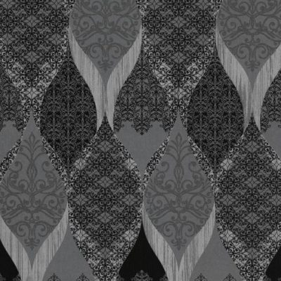 41006-40 Glass Bead Wave Black Silver Deluxe Wallpaper