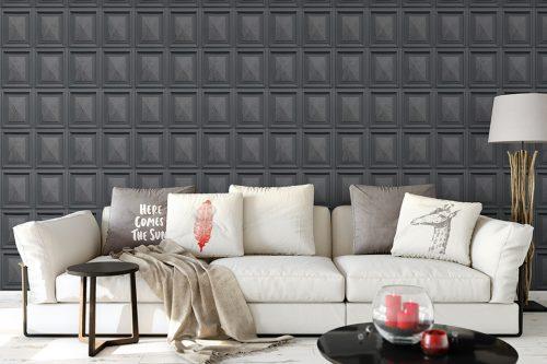 Marble Wood Panel Dark Grey Erismann 6319-47 Wallpaper