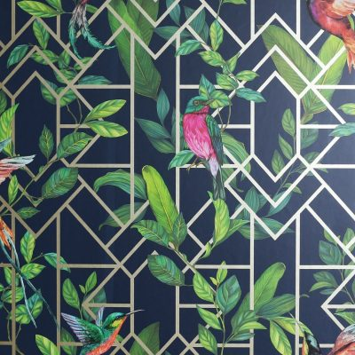 Deco Tropical Wallpaper Navy / Gold Arthouse 908003