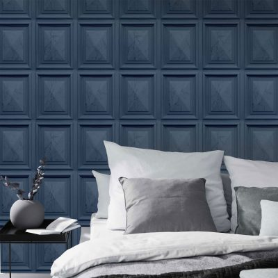 Marble Wood Panel Navy Blue Erismann 6319-44 Wallpaper