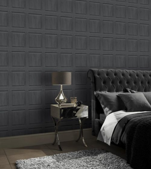Washed Wood Panel Charcoal Arthouse 909600 Wallpaper