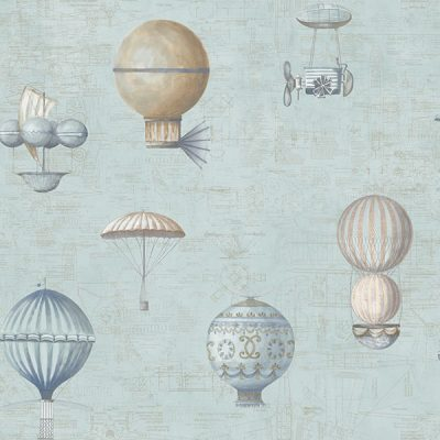 Up and Away Hot Air Balloons Blue Hi200 Wallpaper