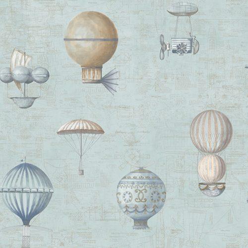 Up and Away Hot Air Balloons Blue Hi200 Wallpaper