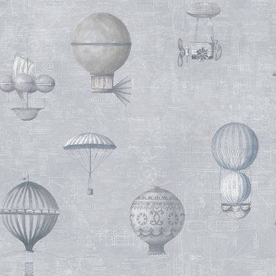 Up and Away Hot Air Balloons Grey Hi201 Wallpaper