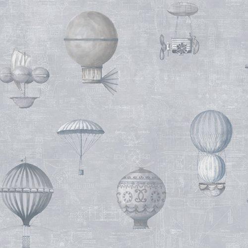 Up and Away Hot Air Balloons Grey Hi201 Wallpaper