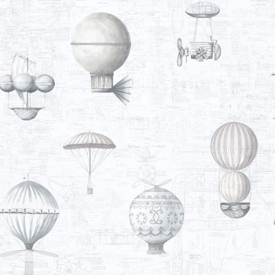 Up and Away Hot Air Balloons Light Grey Hi202 Wallpaper
