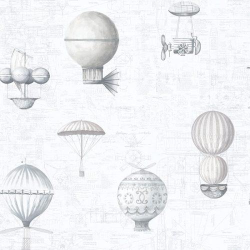 Up and Away Hot Air Balloons Light Grey Hi202 Wallpaper