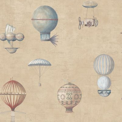 Up and Away Hot Air Balloons Beige Hi203 Wallpaper