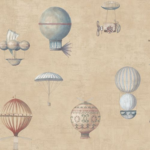 Up and Away Hot Air Balloons Beige Hi203 Wallpaper