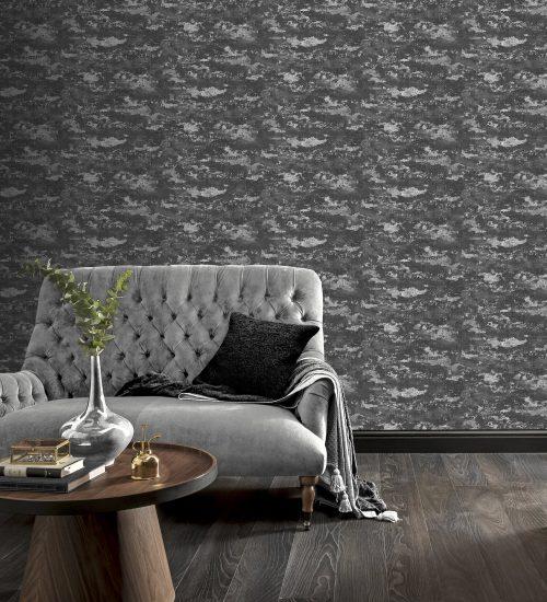 Patina Charcoal Silver Arthouse Wallpaper 297600