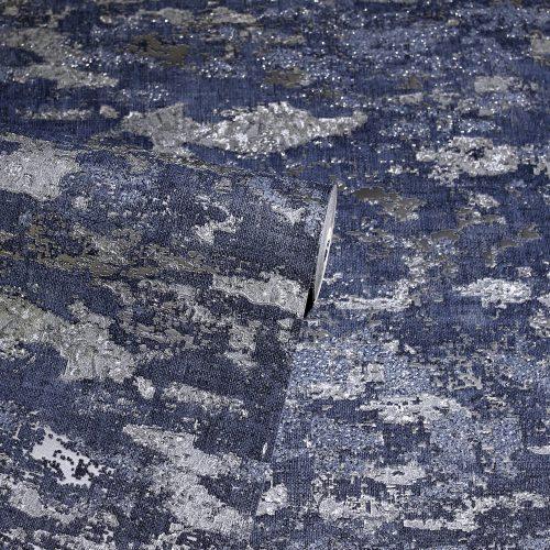 Patina Navy Silver Arthouse Wallpaper 297602