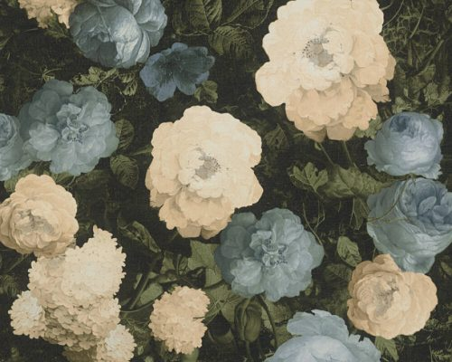 Blue/Cream Floral 37650-2 (376502) History of Art Wallpaper