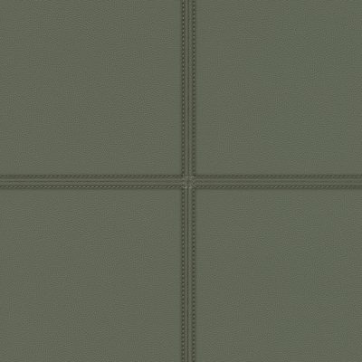 Dark Faux Green Leather Tile Panel 419023 Rasch Club Wallpaper