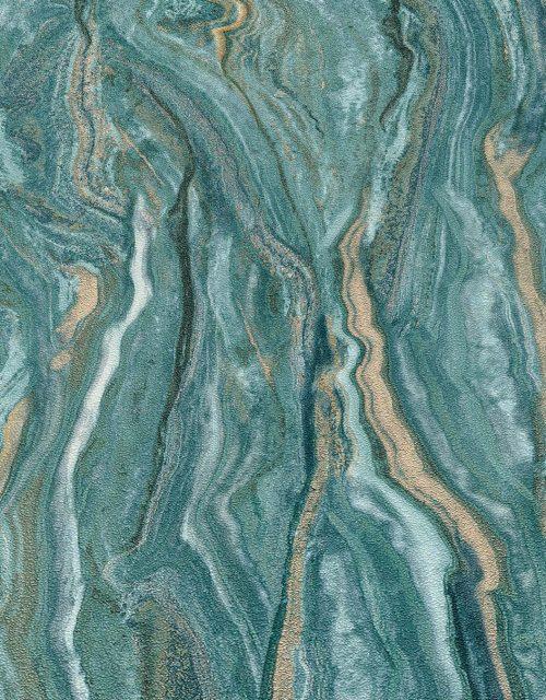 Elle Decoration Teal Marble 10149-36 Wallpaper