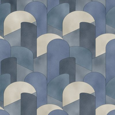 Elle Decoration Blue Art Deco Geometric 10155-08 Wallpaper