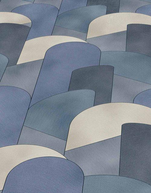 Elle Decoration Blue Art Deco Geometric 10155-08 Wallpaper