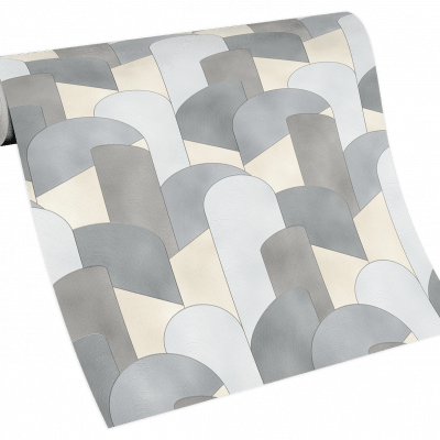 Elle Decoration Grey Art Deco Geometric 10155-10 Wallpaper