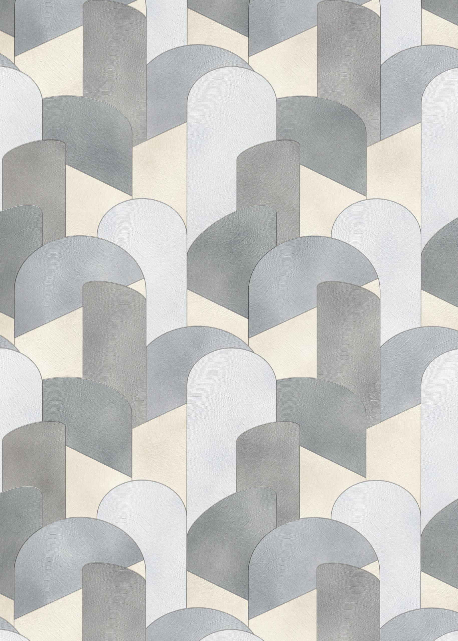 Elle Decoration Grey Art Deco Geometric 10155-10 Wallpaper