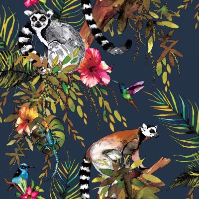 Lemur Wallpaper Midnight Blue Holden 12403