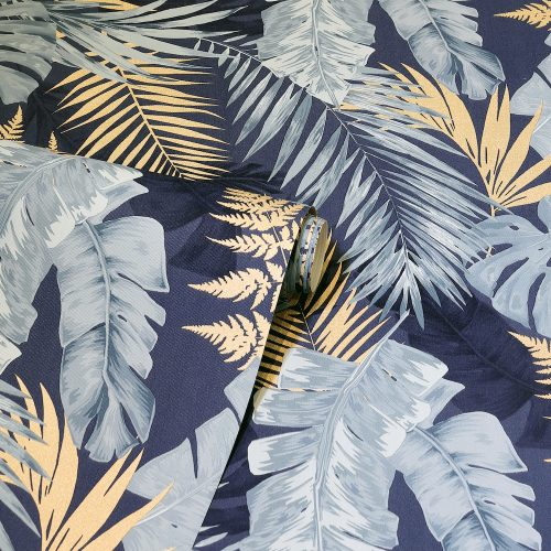 Soft Tropical Palms Wallpaper Navy / Gold Arthouse 297203
