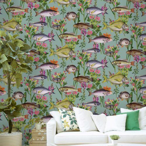 Lagoon Fish Wallpaper Teal Holden 12171