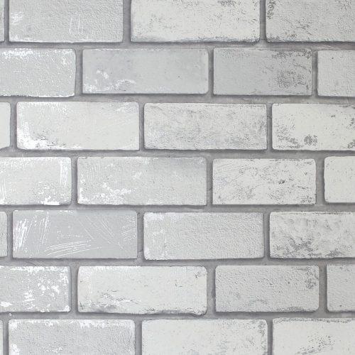 Artistick Metallic Brick Self Adhesive Wallpaper White/Silver Arthouse 300200 6m x 0.53m