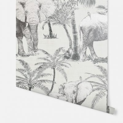 Artistick Elephant Grove Self Adhesive Wallpaper Charcoal Arthouse 300206 6m x 0.53m