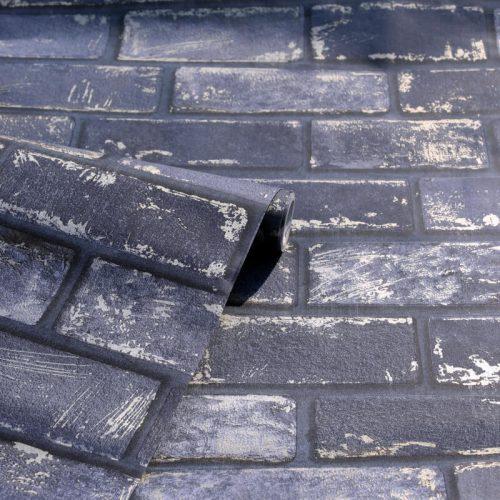 Artistick Metallic Brick Self Adhesive Wallpaper Navy Arthouse 300207 6m x 0.53m