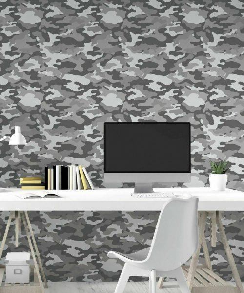 Camouflage Grey Mono 669001 Arthouse Wallpaper