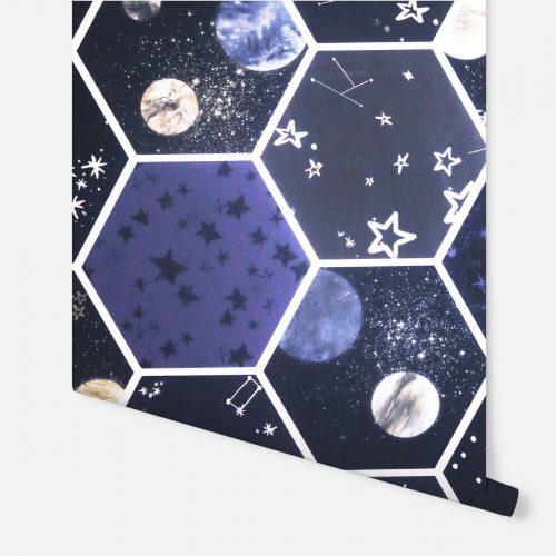 Space Hex Wallpaper Multi Arthouse 669501 Glow In The Dark