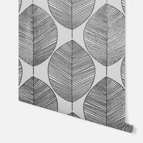Scandi Leaf White/Black 698402 Arthouse Wallpaper