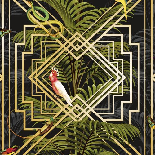 Congo Geometric Wallpaper Black Holden 90202
